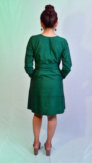 Handwoven Ikat Green Dress