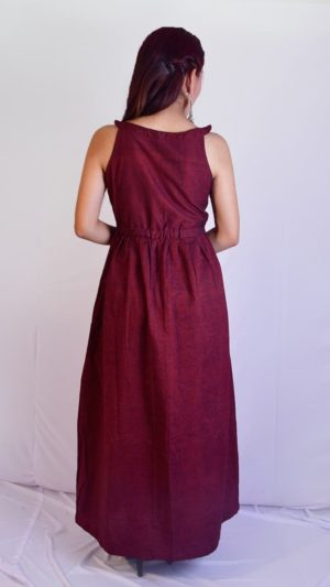 Handwoven Ikat Maroon Maxi Dress