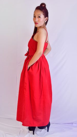 Handwoven Ikat Red Maxi Dress