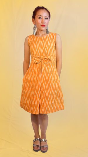 Handwoven Ikat Yellow Bow Dress