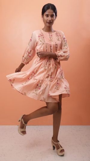 Peach Circular Short Dress