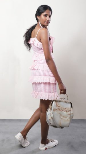 Pink Striped Ruffled Lace Dress