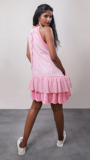 Pink Striped Short Dress