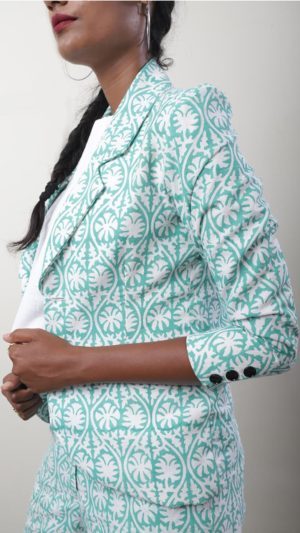 Sea Green Leaf Print Jacket