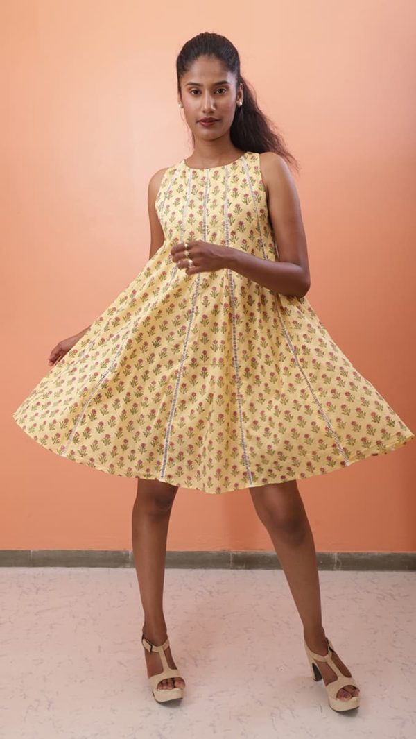 Yellow Printed Short Dress